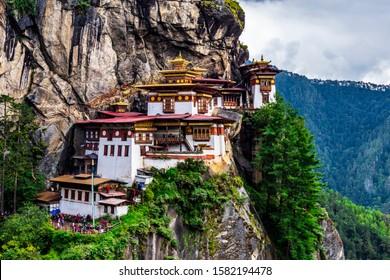 Paro, Bhutan - October 2019: Tiger's Nest at Paro Taktsang