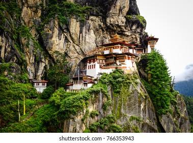 Paro Taktsang (Tiger Nest) on mountain in Upper Paro Valley, Bhutan. Taktsang Lhakhang is Bhutan most iconic landmark and religious site.