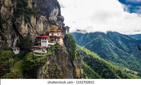 The Paro Taktsang or Tiger's Nest Monastery, Paro Bhutan
