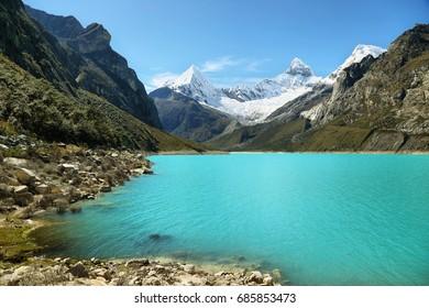 Paron lake and Pyramid peak, Ancash province, Peru