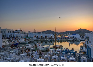 PAROS - GREECE, JUNE 2017: Naousa is a picturesque village located in the northeastern corner of the island of Paros, Cyclades and It is one of the most popular tourist destinations in Geeece.