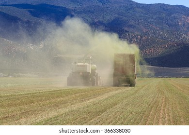 Parowan, UT, USA - August 4, 2010: A farm crew harvests alfalfa hay silage for dairy feed with a powerful Claas Jaguar Forage Harvester.