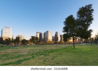 Parque Araucano and skyline of office buildings at Nueva Las Condes business center, Las Condes, Santiago de Chile