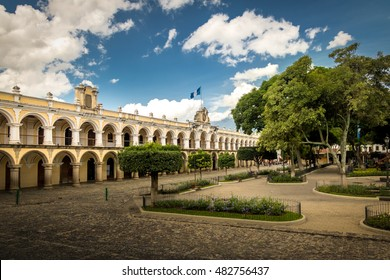 Parque Central and Colonial Buildings - Antigua, Guatemala
