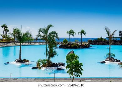 Parque Maritimo Cesar Manrique in Santa Cruz de Tenerife, Spain. The pools of this public complex are filled with seawater.