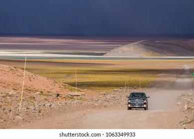 Parque Nacional Nevado Tres Cruces, Atacama, Chile; 020418: Driving near the lake