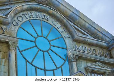 Parque Warner, San Martin de la Vega, Madrid, Spain; April 22 2018: Photograph of an exterior decoration of the Gotham city museum with gray brick facadein Warner Park, San Martin de La Vega, Spain