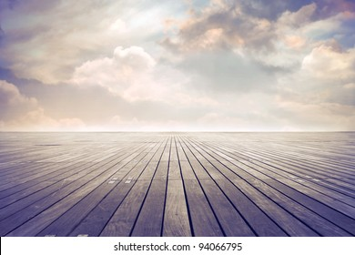 Parquet floor under sunny sky