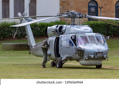 Parramatta, Australia - October 8, 2013: Royal Australian Navy (RAN) Sikorsky S-70B-2 Seahawk Helicopter N24-005.