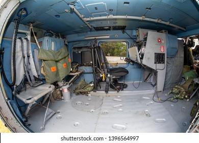 Parramatta, Australia - October 8, 2013: Interior of Royal Australian Navy (RAN) Sikorsky S-70B-2 Seahawk Anti Submarine Warfare Helicopter N24-005.