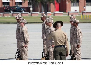 Parris Island, South Carolina  USA - March 1 2019 New recruits at Parris Island boot camp