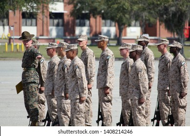 Parris Island, South Carolina / USA - March 1 2019 New recruits at Parris Island boot camp