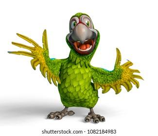 parrot cartoon 3d illustration