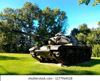 PARSIPPANY TROY HILLS, USA – AUGUST 22, 2016: a tank displayed outside Veterans of Foreign Wars Post 10184 in Parsippany Troy Hills, New Jersey