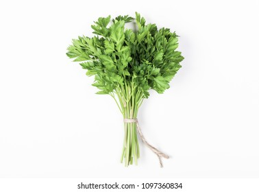 Parsley bunch isolated on white background. Flat lay. Top view. Minimal food concept.