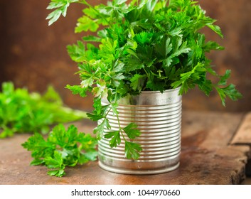 Parsley in a can on wooden board.