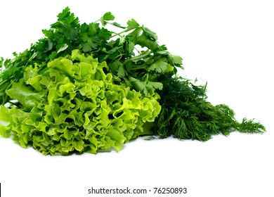Parsley, dill and lettuce isolated on white background
