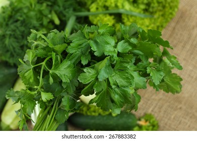 parsley, dill and other green vegetables