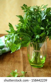 parsley in a glass, fresh greens, food closeup