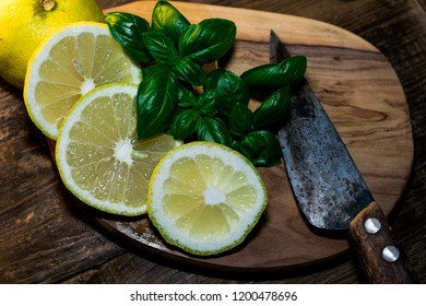 parsley and lemon are prepared for a delicious meal