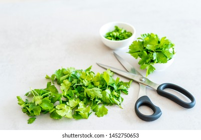 Parsley (Petroselinum crispum) as a herb in the kitchen