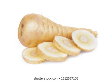 parsnip root with slices vegetable isolated on white background
