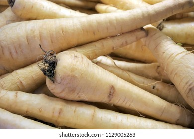 Parsnip root vegetable. It is high in vitamins and minerals, especially potassium. It also contains antioxidants and both soluble and insoluble dietary fiber.