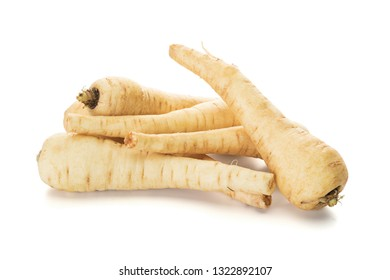 Parsnips or Pastinaca sativa roots isolated on white background