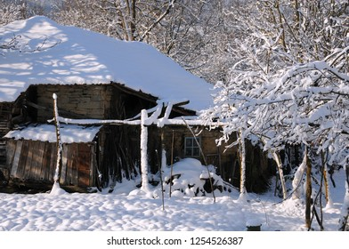 Part of abandoned house in Bulgarian village in the winter
