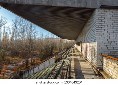Part of the Abandoned stadium in Pripyat, Chernobyl Exclusion Zone 2019