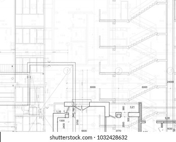 Part of abstract architectural project on the white background. Technical plans