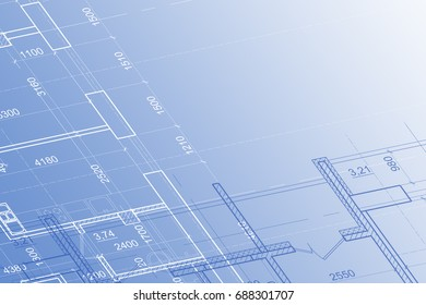 Part of abstract architectural project on the blue background