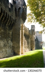 Part of ancient stone City Wall and flower garden in front - Avignon, France