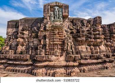 A part of the ancient temple of Sun god, currently under ruins at Konark, Odisha, India