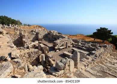 Part of the Ancient Thira ruins at the peak of Mesa Vouna Mountain, located at Santorini Island, Greece.