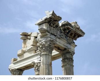 Part of antic temple  in the ancient city of Pergamon, Bergama, Izmir Turkey