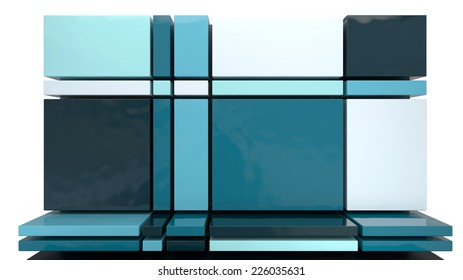part of architectural element made of glossy plastic blocks in different colors