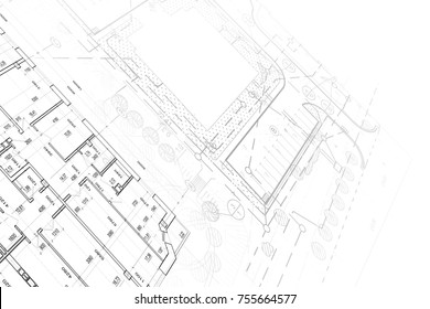 Part of architectural project on the white background. Plan and landscape
