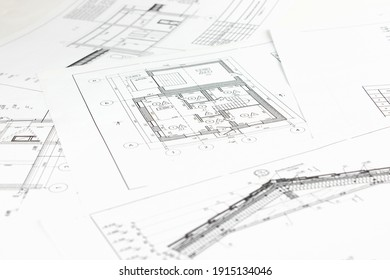 Part of architectural project. Architectural plan,technical project and constructions. Engineering and architecture drawings