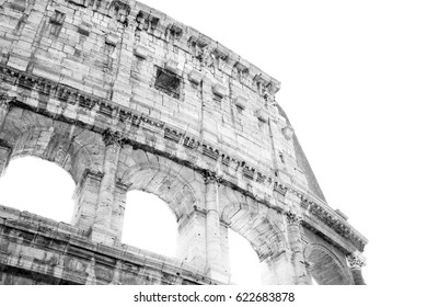 Part of the architecture monument Colosseum in Rome (Italy) in a high key black and white illustration.