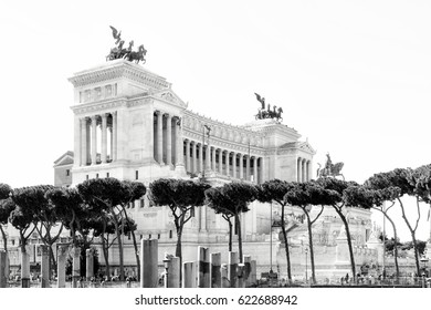 Part of the architecture monument Piazza Venezia in Rome (Italy) in a high key black and white illustration.