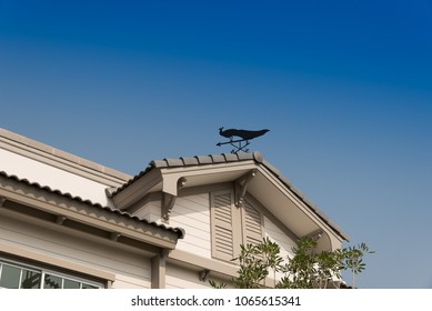 A part of beautiful exterior of newly built luxury home have a weather vane on the roof.
