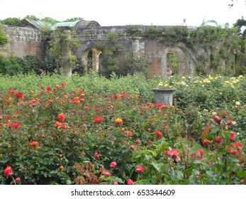 Part of the beautiful garden and grounds of Hever Castle, featuring flowers surrounded by a brick wall. England, the United Kingdom.