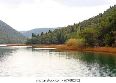 Part of beautiful Krka River near Skradin, Croatia
