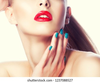 part of beauty girl face with bright red lips make-up and clean skin
