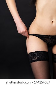 Part of the body in lingerie, panties