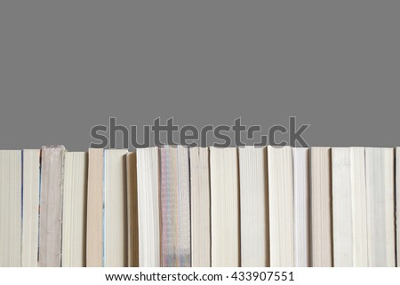 A Part Of Bookshelf Texture On Grey Background
