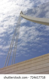 Part of bridge and blue sky with White clouds