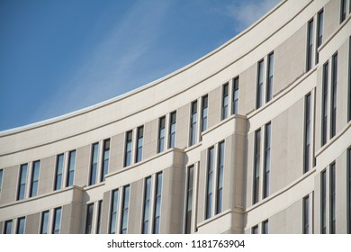 part of the building against the blue sky close up