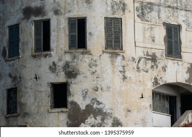 Part of a building. Cape Coast Castle is one of about forty slave castles.